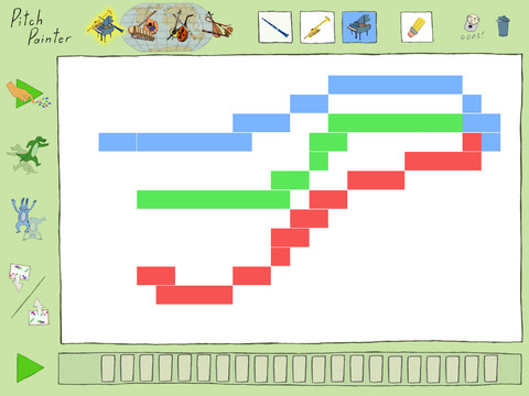 The Pitch Painter GUI. In high the instruments choice section. On the left some advanced functionality.
