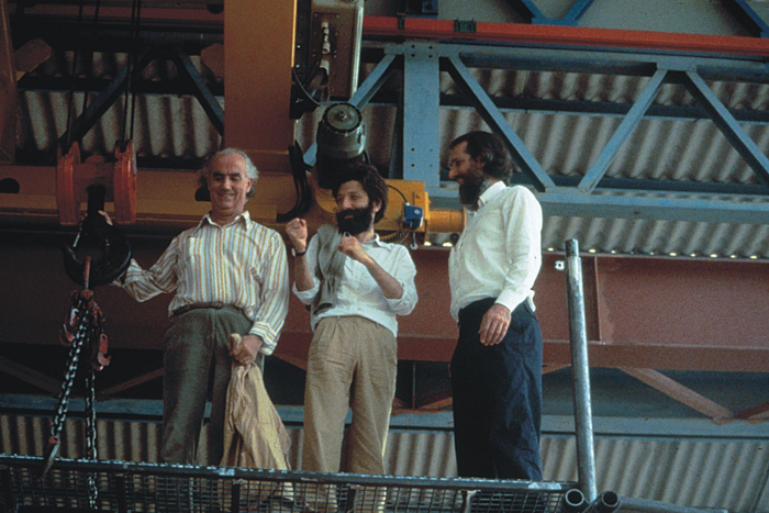Luigi Nono, Massimo Cacciari and Renzo Piano at work for the Prometeo's scenography.