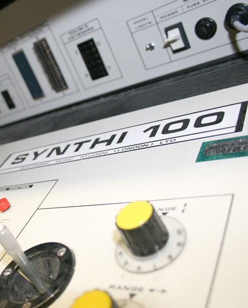 Detailed picture of the Synthi 100 synthesizer.