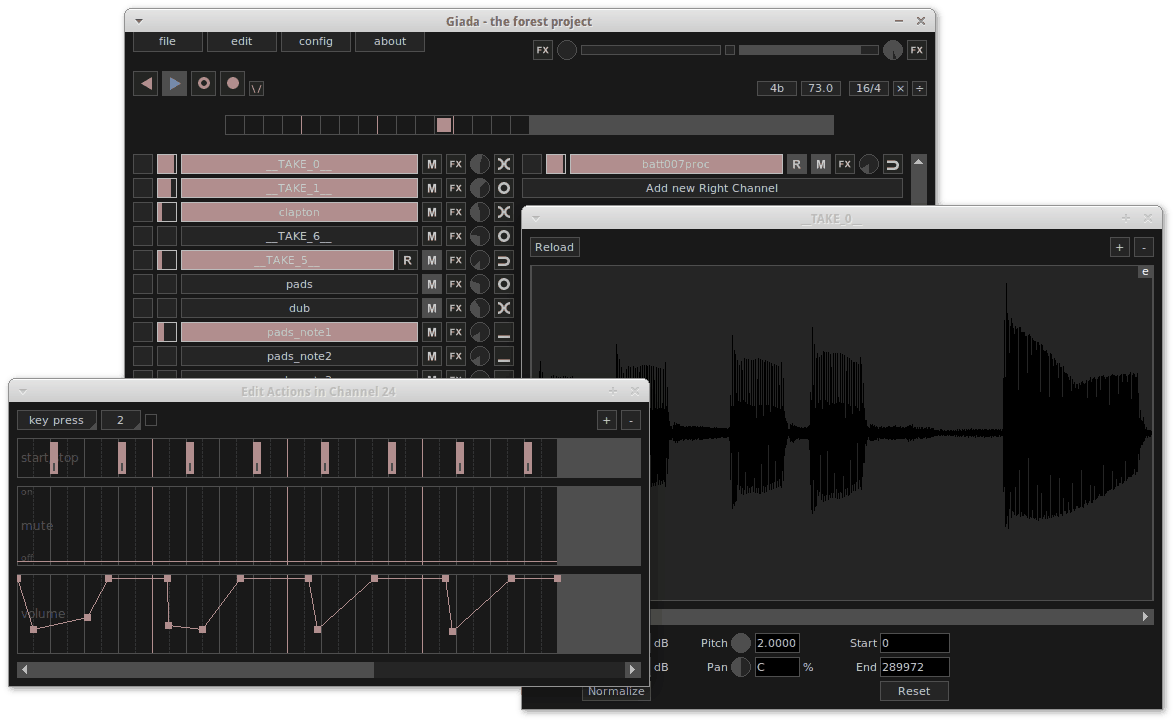 The main windows of the audio editor.