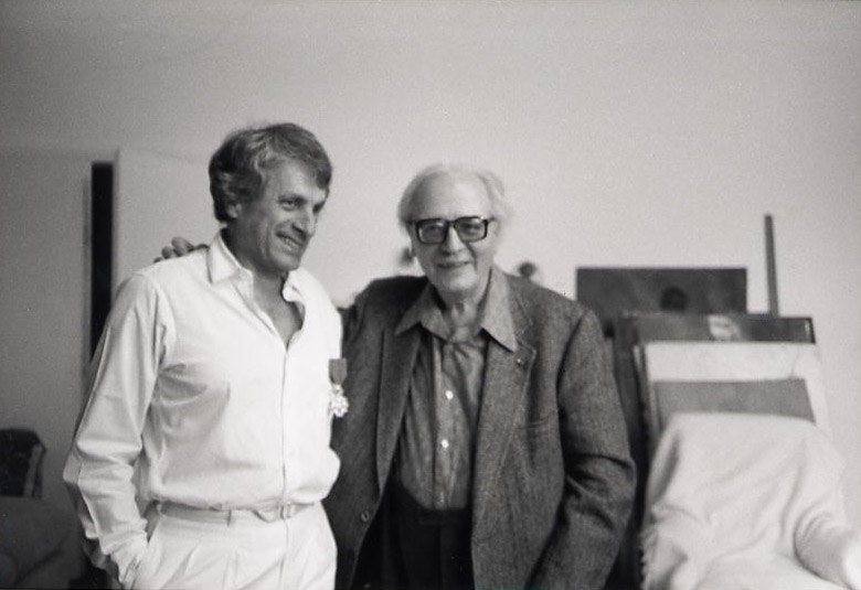 Iannis Xenakis and Olivier Messiaen together in the apartment in the Rue Chaptal, owned by the greek composer. Paris, about 1977.