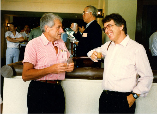 Xenakis with the American composer Roger Reynolds in 1992, on the occasion of a round table on the topic of computer music, held at Delphi in Greece.