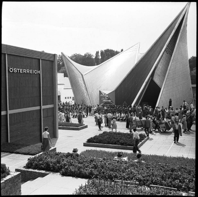 Another beautiful picture of the Philips Pavilion, by Le Corbusier and Xenakis.