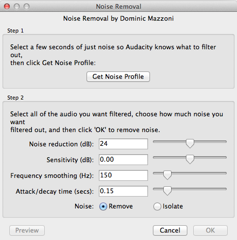 The Noise Removal window.