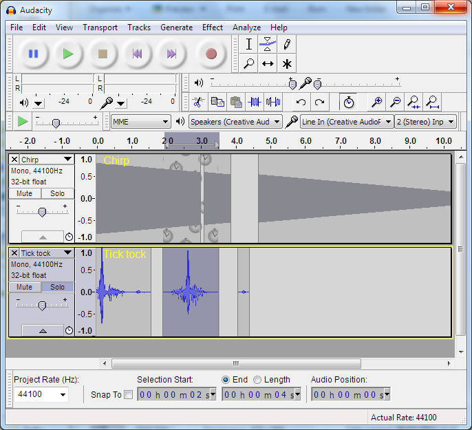 A screenshot of the Windows version Audacity.