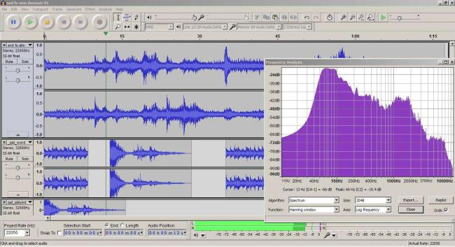 Another image of Audacity. On the left is the open window of the analyzer frequency, one of the many features that the software offers.