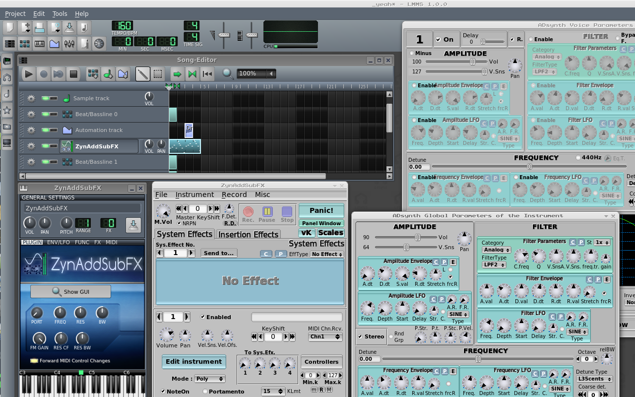LMMS interfaced with virtual synthesizer ZynAddSubFX.