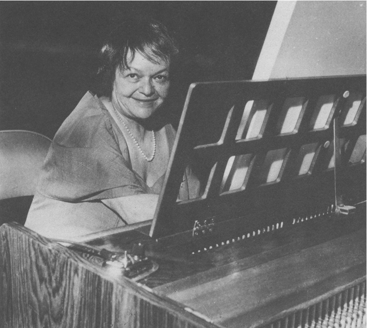 a picture of Antoinette Vischer, shooting at the harpsichord in the evening of the premiere, May 16, 1969.