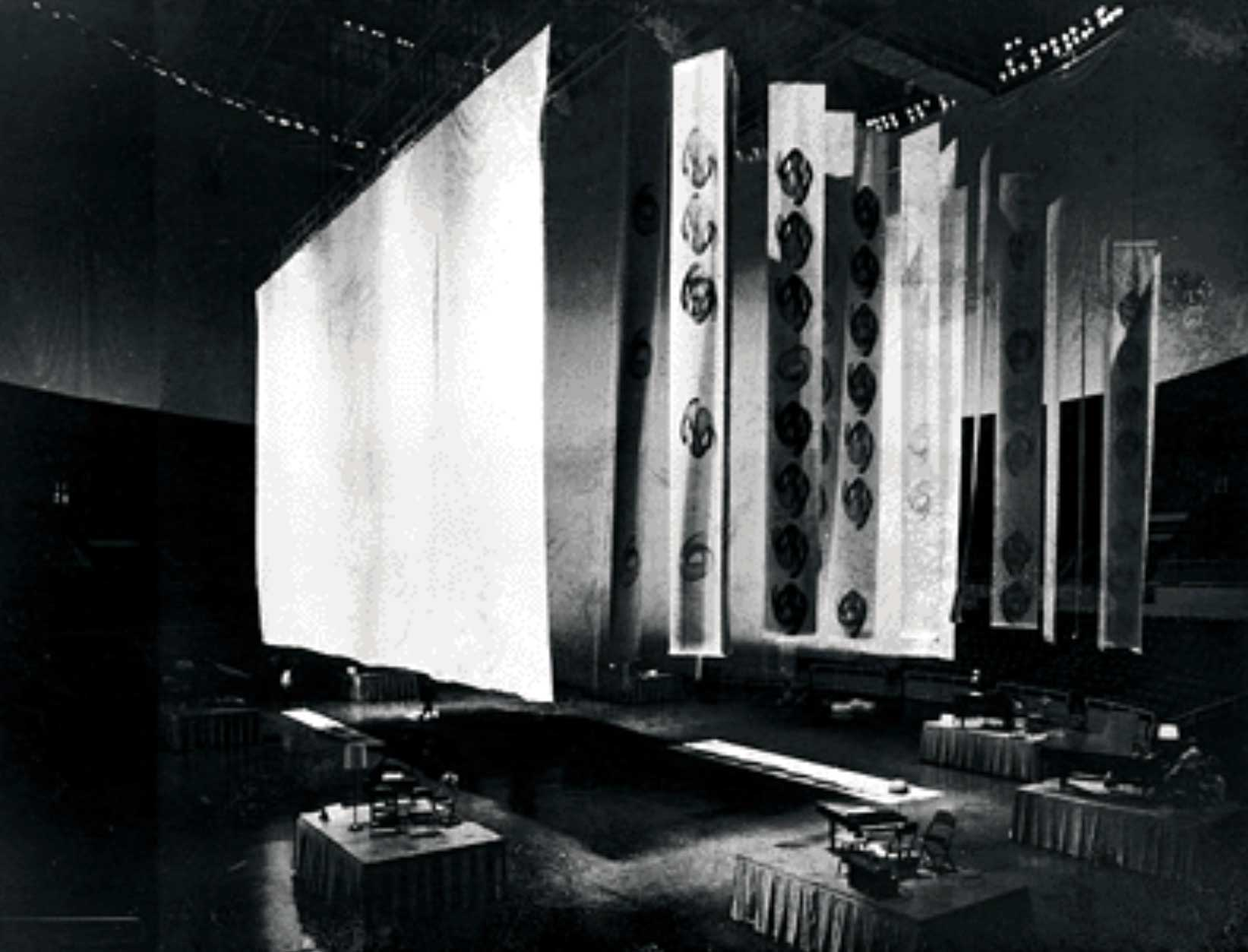 A picture of the Assembly Hall before the performance. You notice the banner for graphics and video projections.