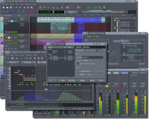 A screenshot with many different windows of Qtractor.